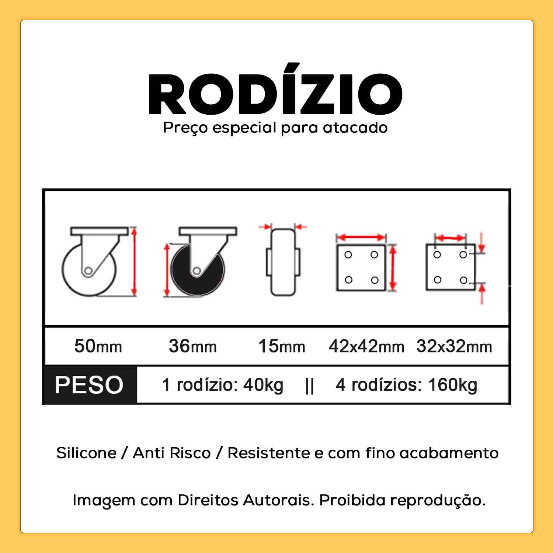 20 Rodízios Giratórios Silicone Anti Risco 36mm 40kg