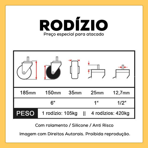 4 RODIZIO PARA MACA HOSPITALAR FREIO PARAFUSO 1/2 150MM