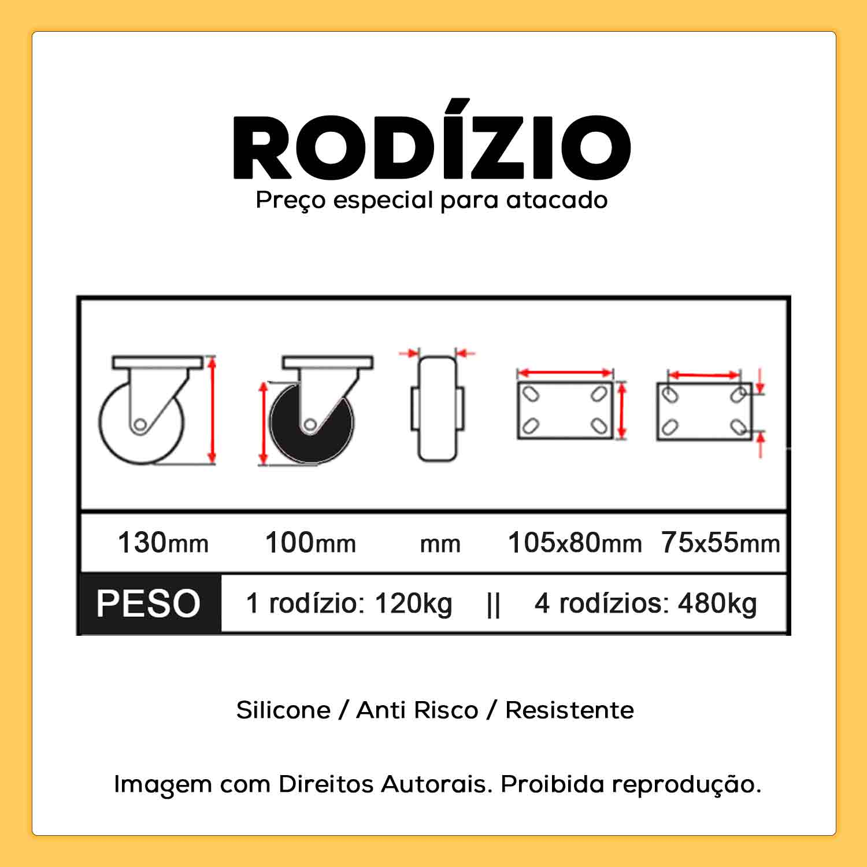 """4 Rodízio Silicone Anti Risco 4"""" Fixo + Giratório com Freio 100mm 480kg"""