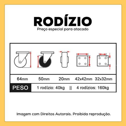 4 Rodizios Giratorios com Freio Gel Silicone Rodinha 50mm