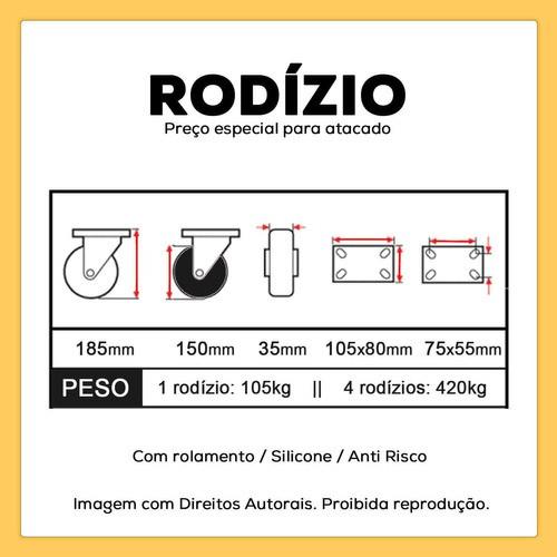 4 RODIZIOS GIRATORIOS COM ROLAMENTO FREIO RODÍZIO 150mm 420kg
