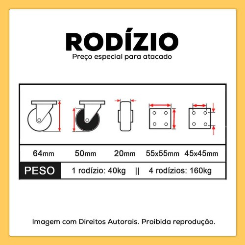 4 RODIZIOS GIRATORIOS SILICONE ANTI RISCO RODINHA 50mm 160kg