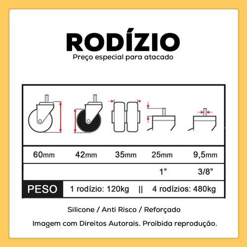4 Rodizios Giratorios Silicone Cervejeira Parafuso 3/8 42mm