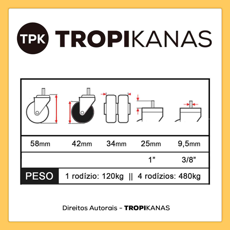 "6 Rodízio Giratório Silicone Duplo Roda Parafuso 3/8"" 42mm 480kg"