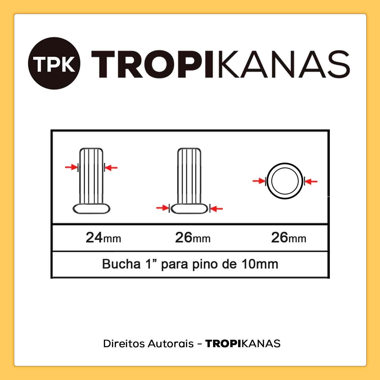 """Bucha para tubo 1"""" - Entrada para Pino 10mm"""