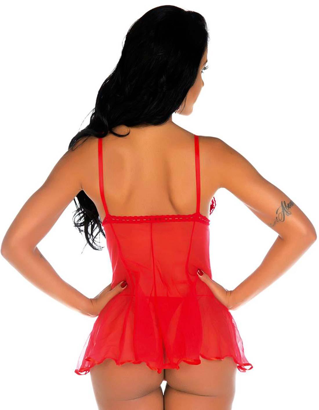 Camisola de Renda Lady + Calcinha Vermelha Tropikanas