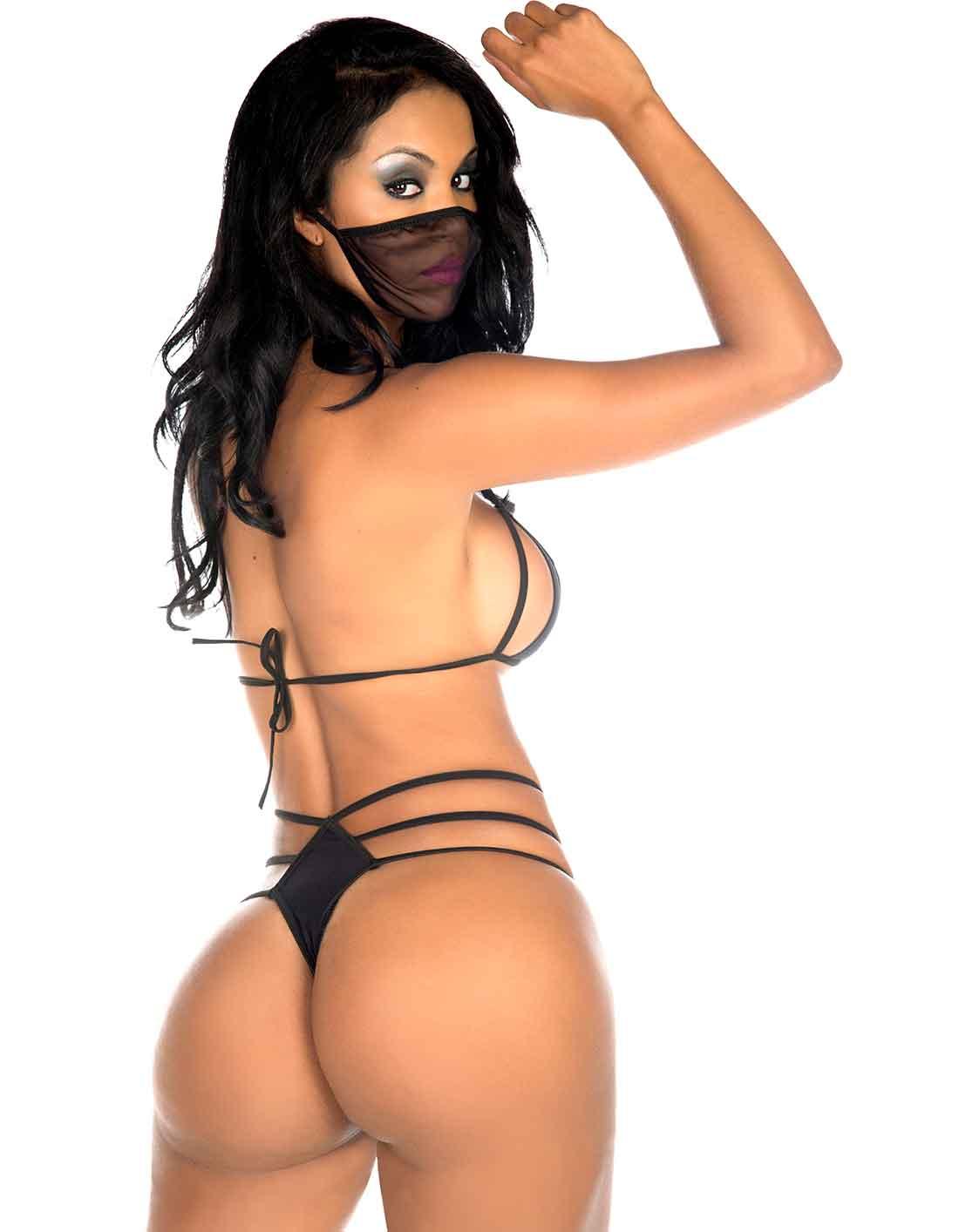 Conjunto Ninja Top + Calcinha + Máscara Preta Tropikanas