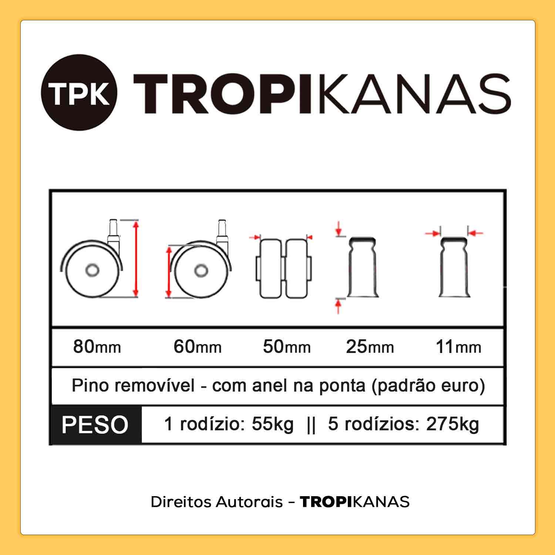 Kit 10 Roda de Cadeira Silicone Rodízio Anti Risco Preto 11mm