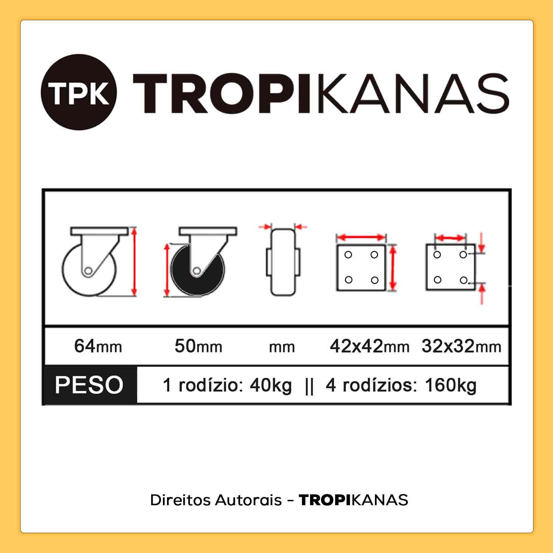 """Kit 10 Roda Rodízio Giratório Rodinha 2"""" 50mm 40kg"""