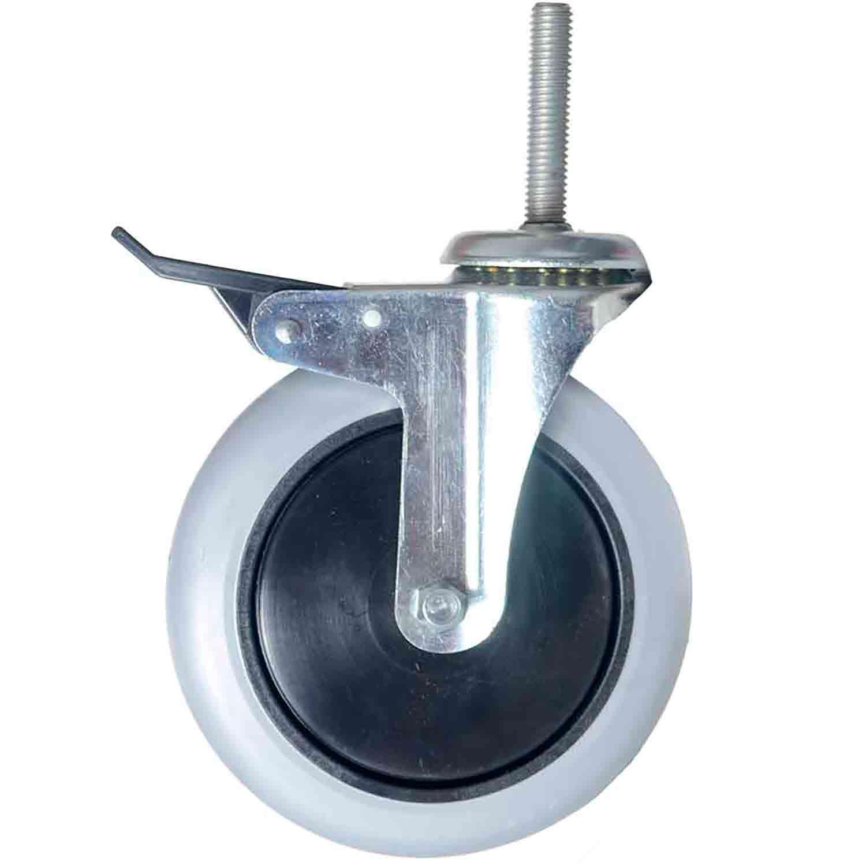 """Kit 10 Roda Rodízio Giratório Silicone com Freio Rolamento Parafuso 1/2"""" 63mm Roda 6"""" 150mm 105kg"""