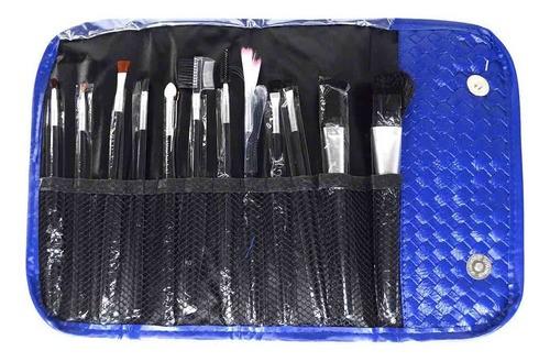 Kit 12 Pincel Profissional + Estojo Maquiagem Pinceis Make