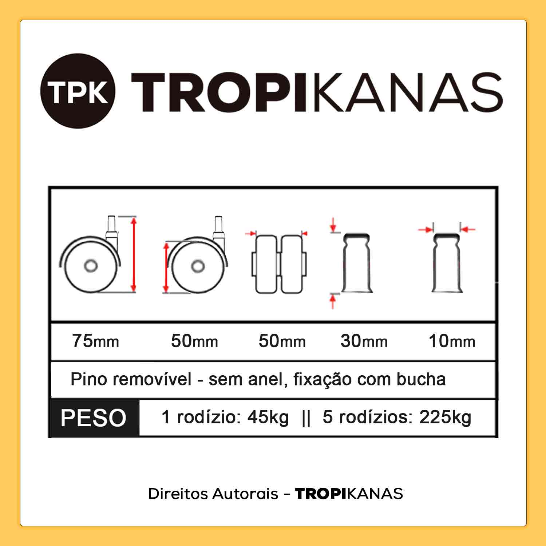 Kit 20 Roda de Cadeira Silicone Anti Risco Rodízio Cinza 10mm