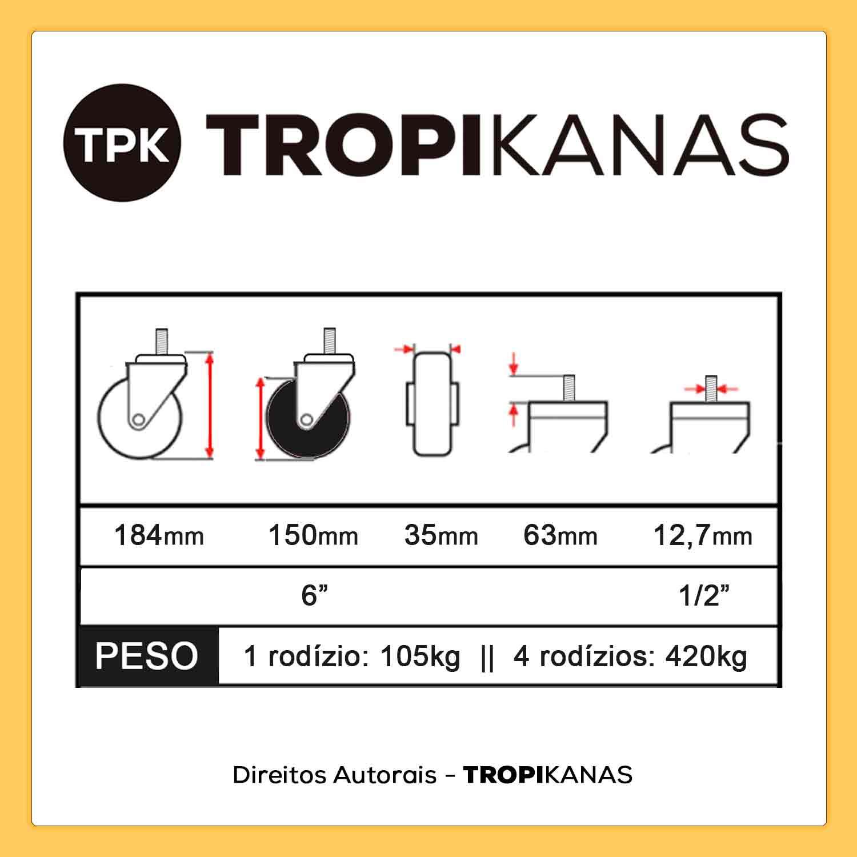 """Kit 4 Roda Rodízio Giratório Silicone com Freio Rolamento Parafuso 1/2"""" 63mm Roda 6"""" 150mm 105kg"""