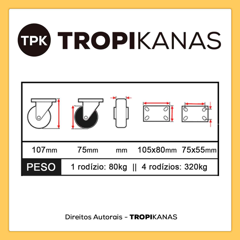 "Kit 4 Roda Rodízio Giratório Silicone Rodinha Anti Risco 3"" 75mm 320kg"