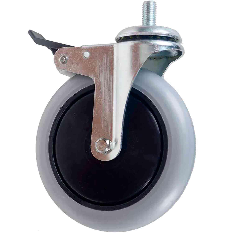 """Kit 4 Rodízio Giratório Silicone com Freio Rolamento Parafuso 1/2"""" 25mm Roda 6"""" 150mm 105kg"""