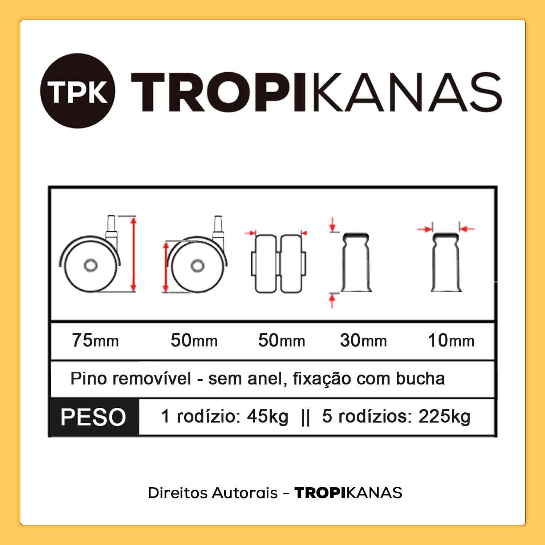 Kit 5 Roda de Cadeira Silicone Anti Risco Rodízio Cinza 10mm