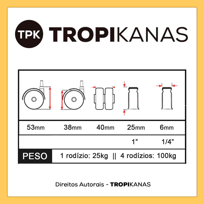 6 Roda Rodízio Giratório Rodinha 38mm 25kg Pino 6mm