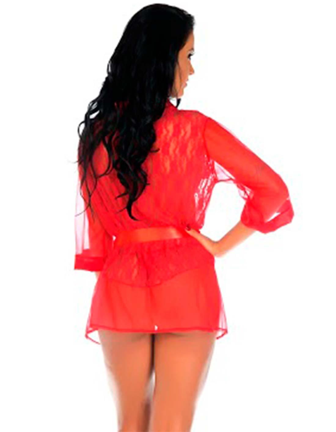 Robe de Renda e Tule Luxo Vermelho Tropikanas