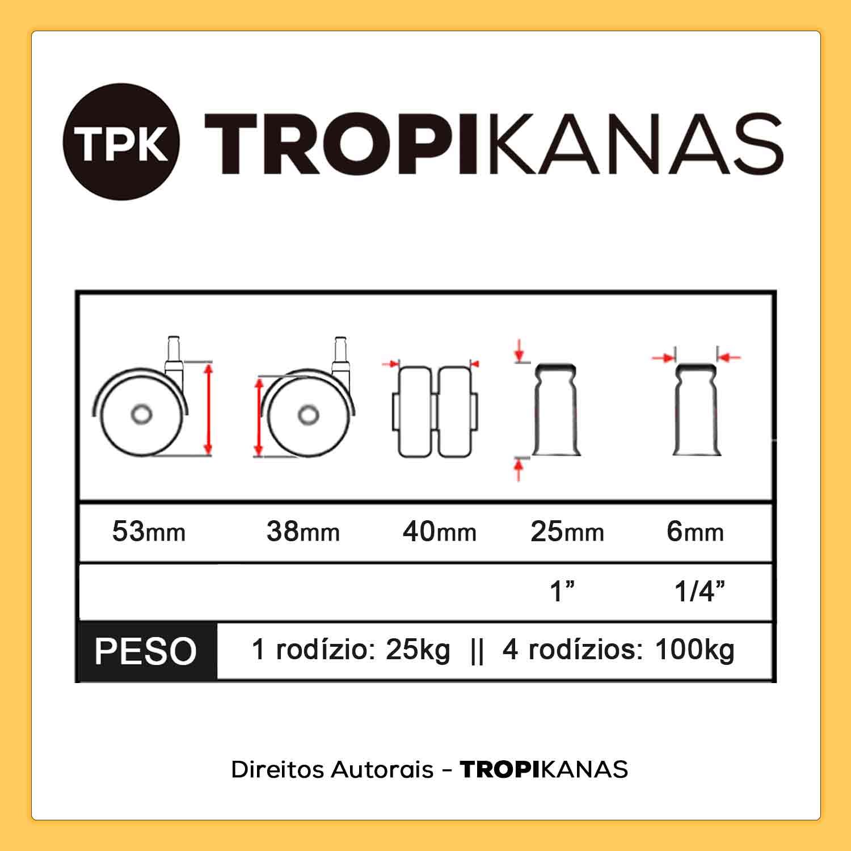Roda Rodízio Giratório Rodinha 38mm 25kg Pino 6mm