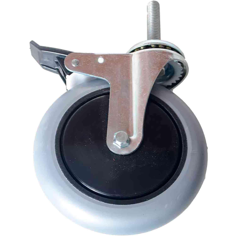 """Roda Rodízio Giratório Silicone com Freio Rolamento Parafuso 1/2"""" 63mm Roda 6"""" 150mm 105kg"""