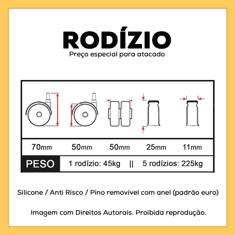Rodizio de Cadeira Silicone Anti Risco 11mm