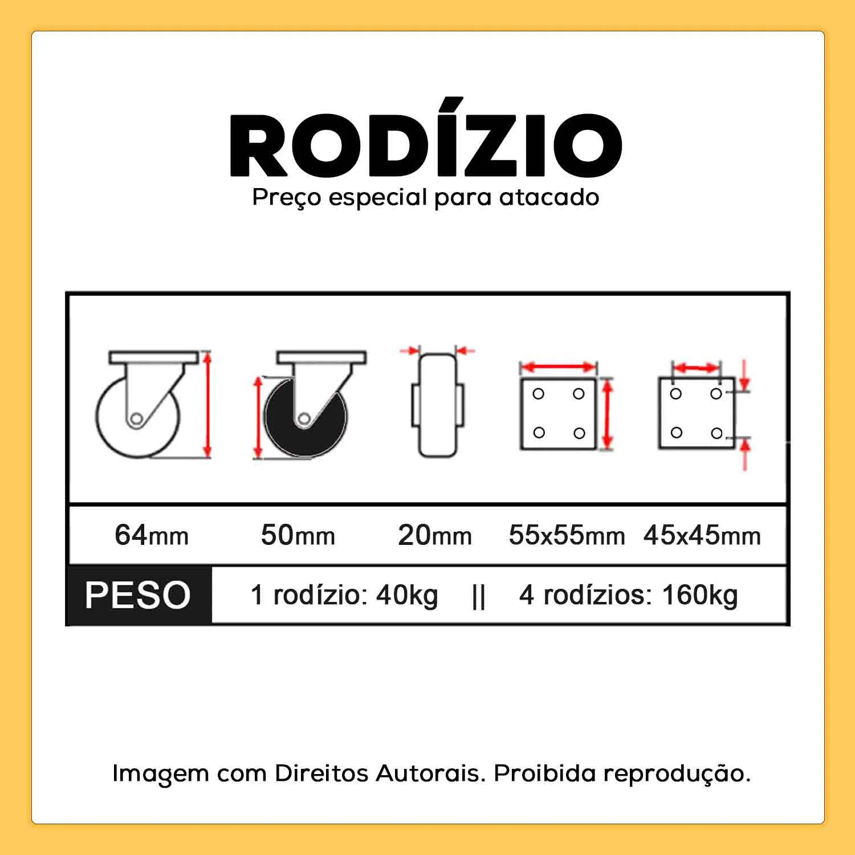"""Rodízio Giratório 2"""" 50mm 40kg"""