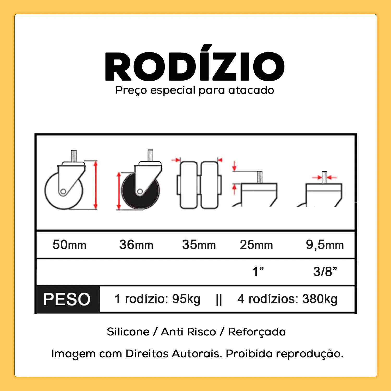 "Rodízio Giratório Parafuso 3/8"" 36mm 95kg"