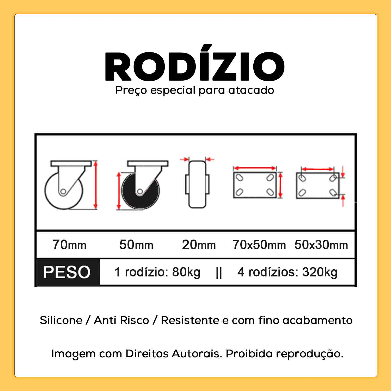 """Rodízio Giratório com Freio 2"""" 50mm 80kg"""