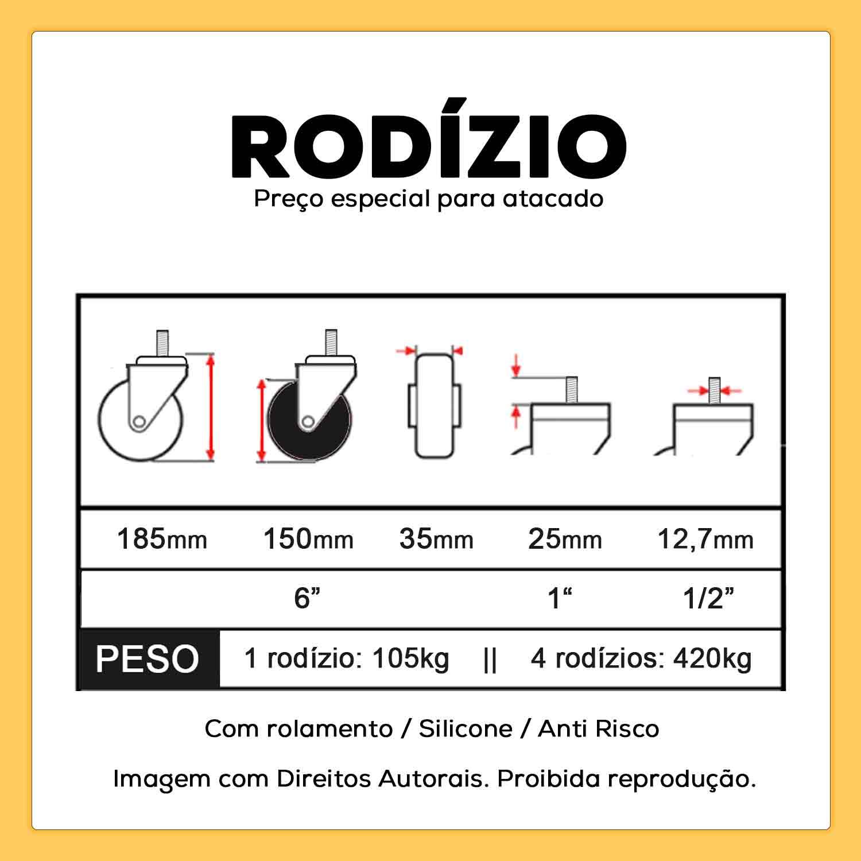 """Rodízio Giratório Silicone com Freio Rolamento Parafuso 1/2"""" 25mm 150mm 105kg"""