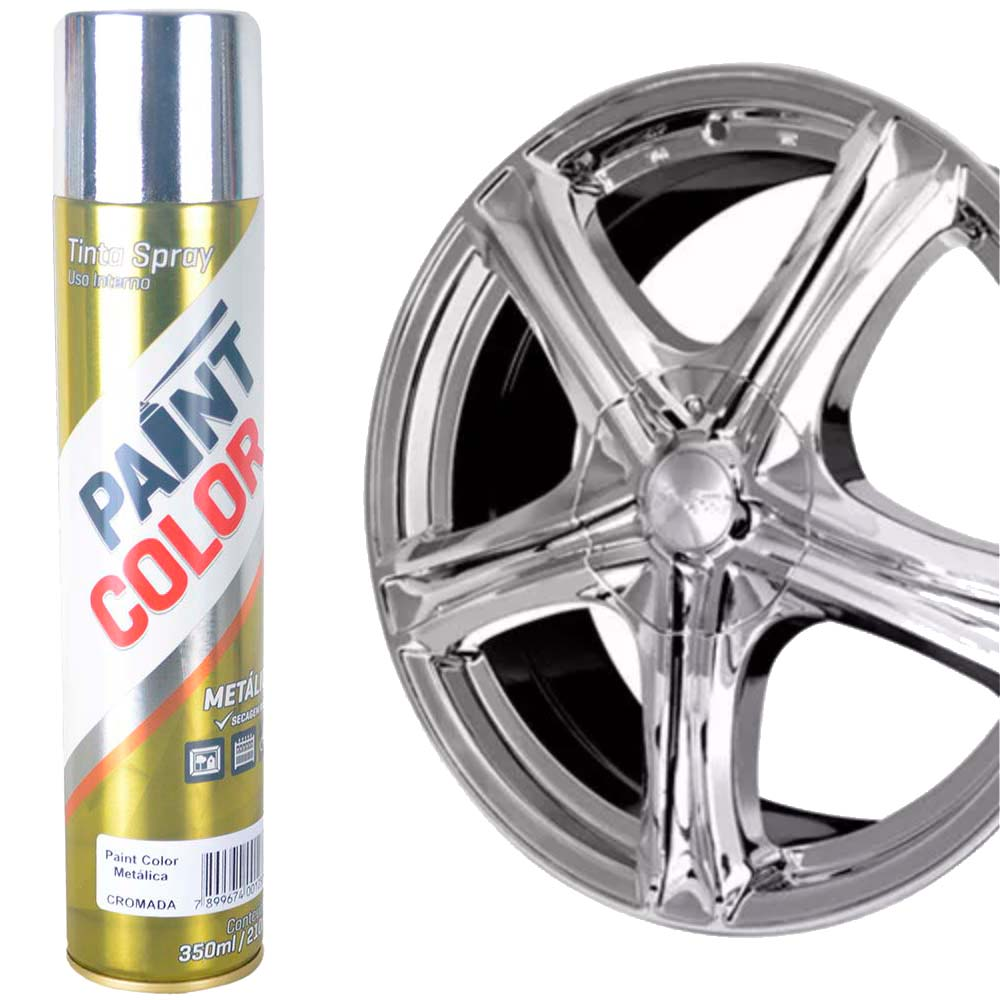 Tinta Spray Cromada Prata Bronze Chemicolor 350ml