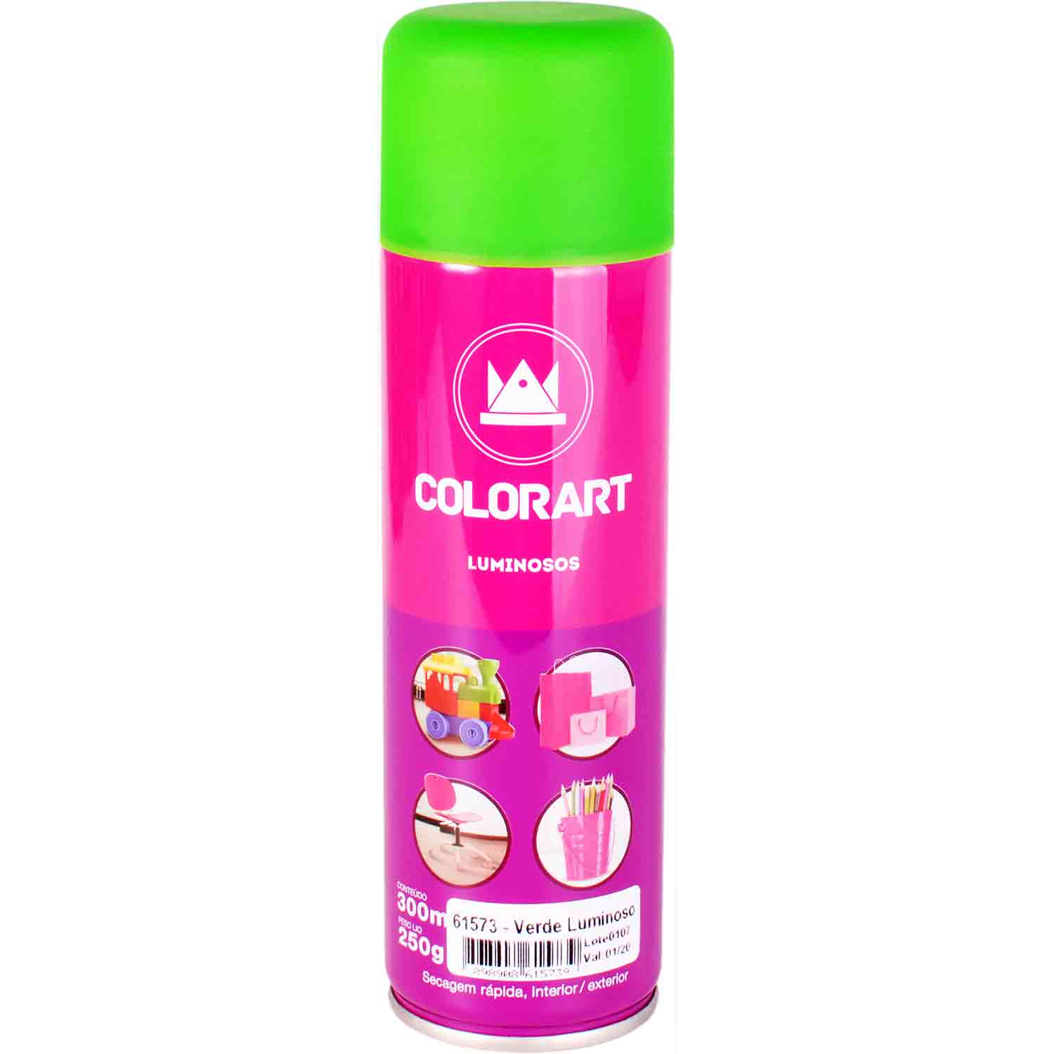 Tinta Spray Luminosa Brilha no Escuro Colorart Tropikanas 300ml
