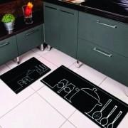 Kit Tapete Cozinha 2 peças, Antiderrapante 120x40 / 60x40
