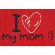 Tapete Capacho I Love My Mom 60x40 cm Vermelho
