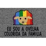 Tapete capacho Ovelha colorida da família LGBT 60x40cm