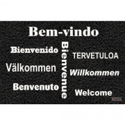 Tapete Capacho Personalizado - Bem vindo várias línguas 60x40cm - Preto