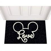 Tapete Capacho Personalizado - Love Mickey 60x40 cm - Preto