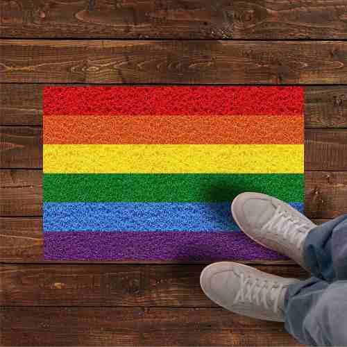 Tapete capacho arco iris LGBT 60x40cm  - Zap Tapetes e Capachos Personalizados