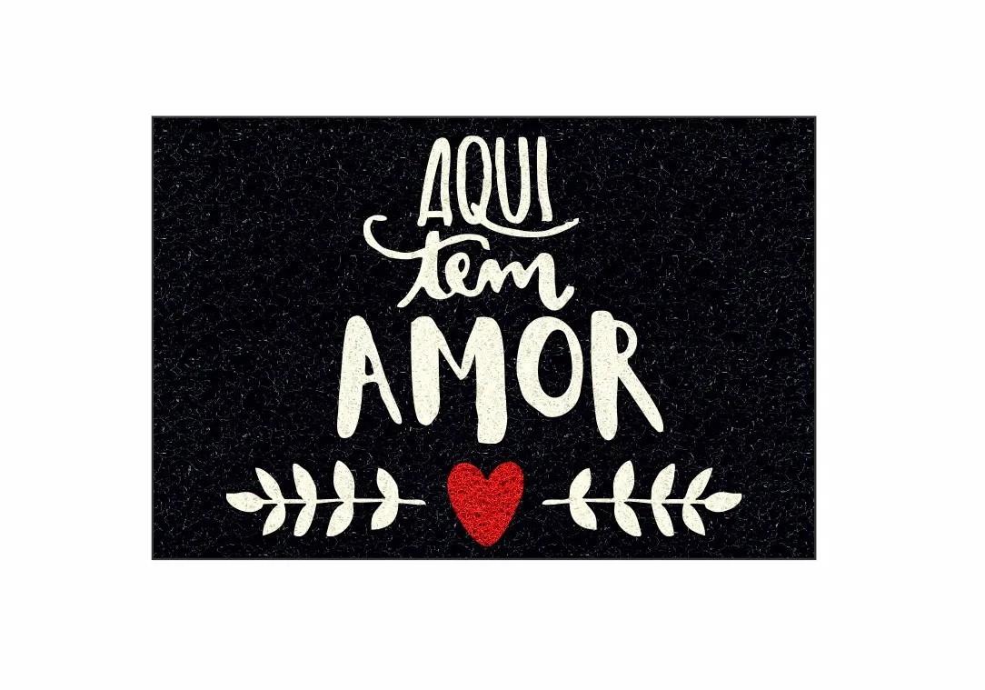 Capacho, Aqui tem Amor!! 60x40 cm  - Zap Tapetes e Capachos Personalizados