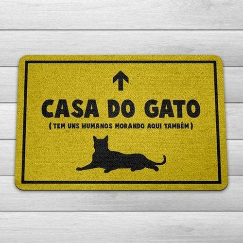 Capacho Ecológico Casa Do Gato 60X40 CM  - Zap Tapetes e Capachos Personalizados