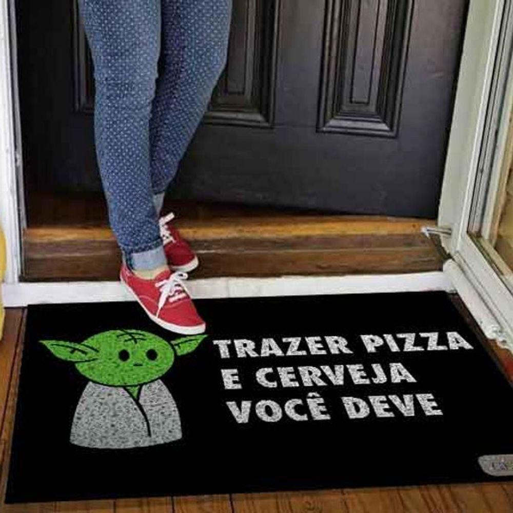 Capacho Mestre Yoda Trazer Pizza Você Deve - 60 X 40cm  - Zap Tapetes e Capachos Personalizados