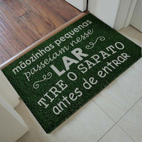 Capacho para apartamento Mãozinhas Pequenas 60x40cm - Verde musgo  - Zap Tapetes e Capachos Personalizados