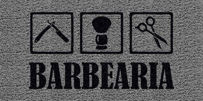 Capacho Personalizado Barbearia I | Prata  - Zap Tapetes e Capachos Personalizados