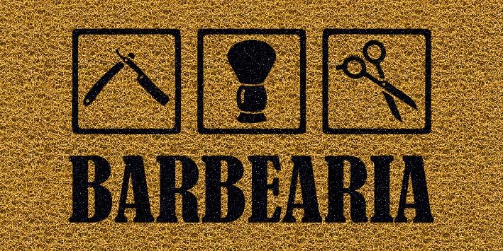 Capacho Personalizado Barbearia I | Ouro  - Zap Tapetes e Capachos Personalizados
