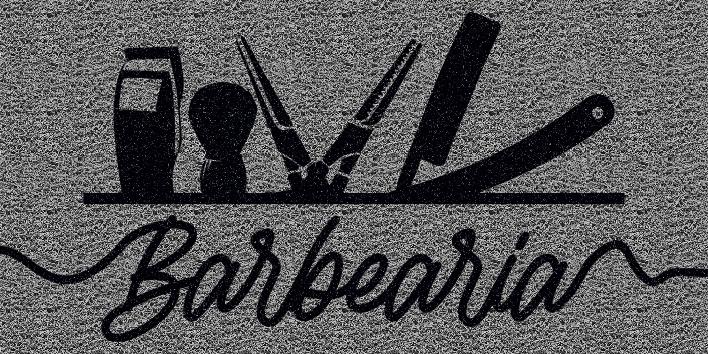 Capacho Personalizado Barbearia II | Prata  - Zap Tapetes e Capachos Personalizados