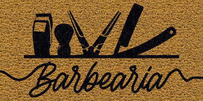 Capacho Personalizado Barbearia II | Ouro  - Zap Tapetes e Capachos Personalizados