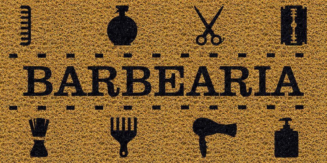 Capacho Personalizado Barbearia III | Ouro  - Zap Tapetes e Capachos Personalizados