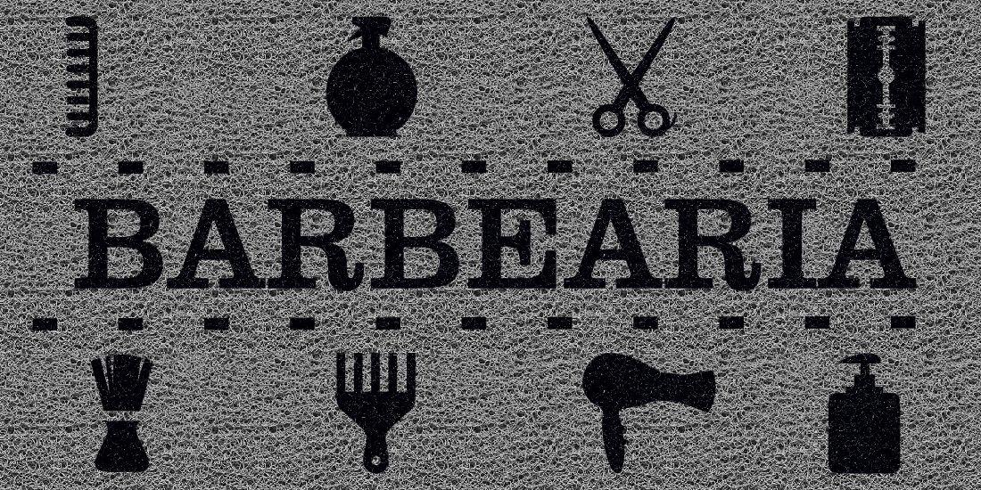 Capacho Personalizado Barbearia III | Prata  - Zap Tapetes e Capachos Personalizados