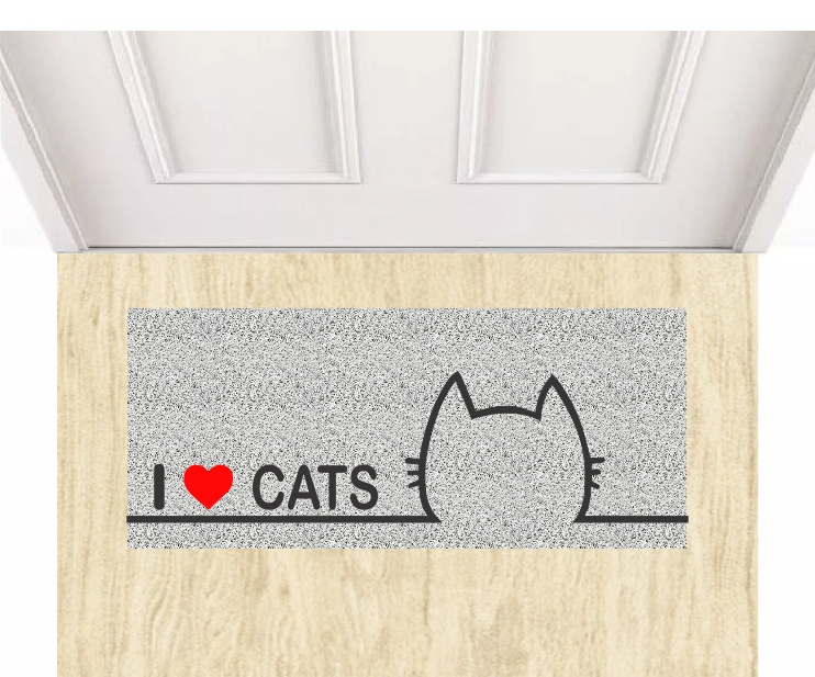 Capacho Personalizado I Love Cats  - Zap Tapetes e Capachos Personalizados