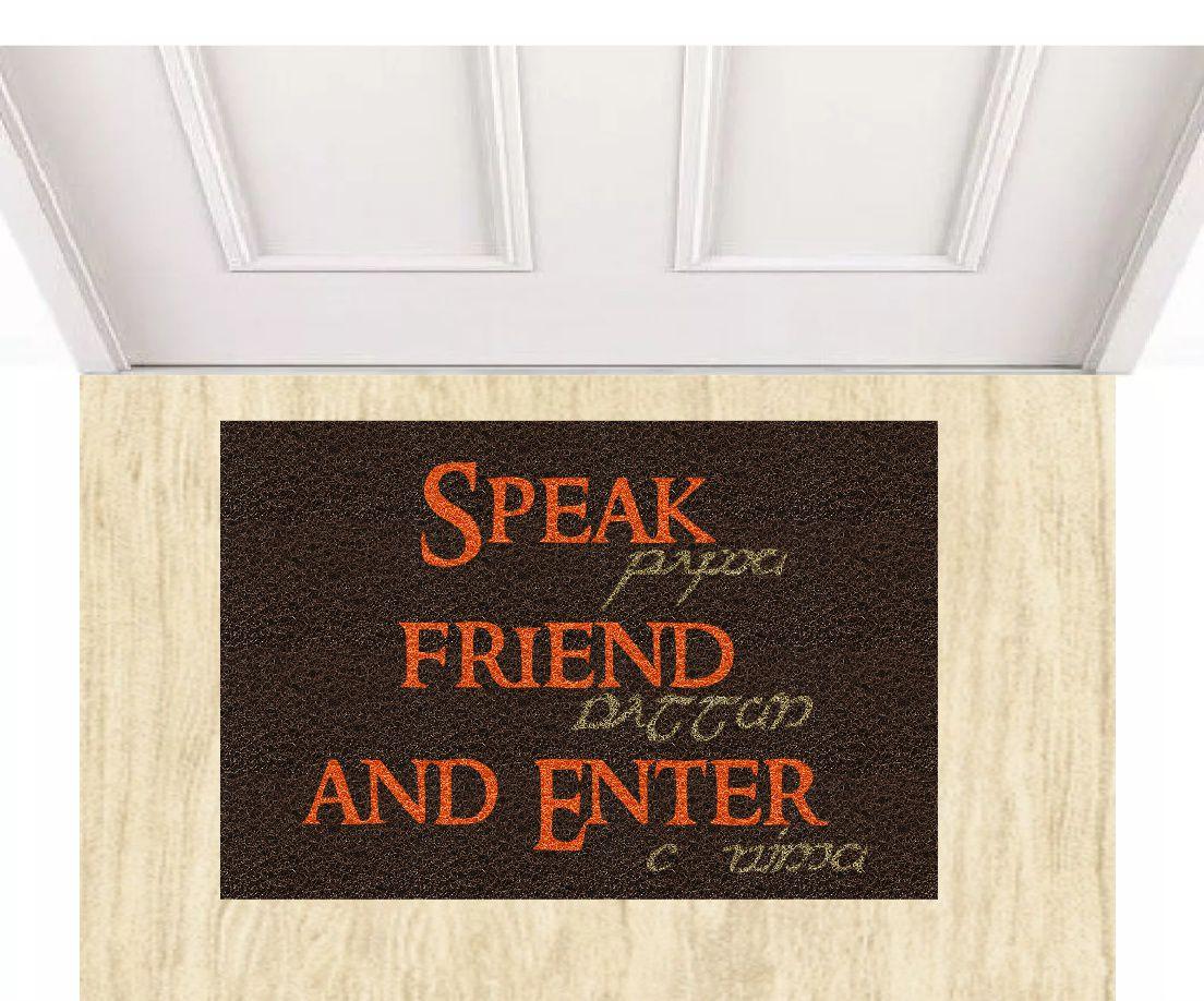 Capacho Senhor dos Anéis Speak Friend and Enter 60x40 cm  - Zap Tapetes e Capachos Personalizados