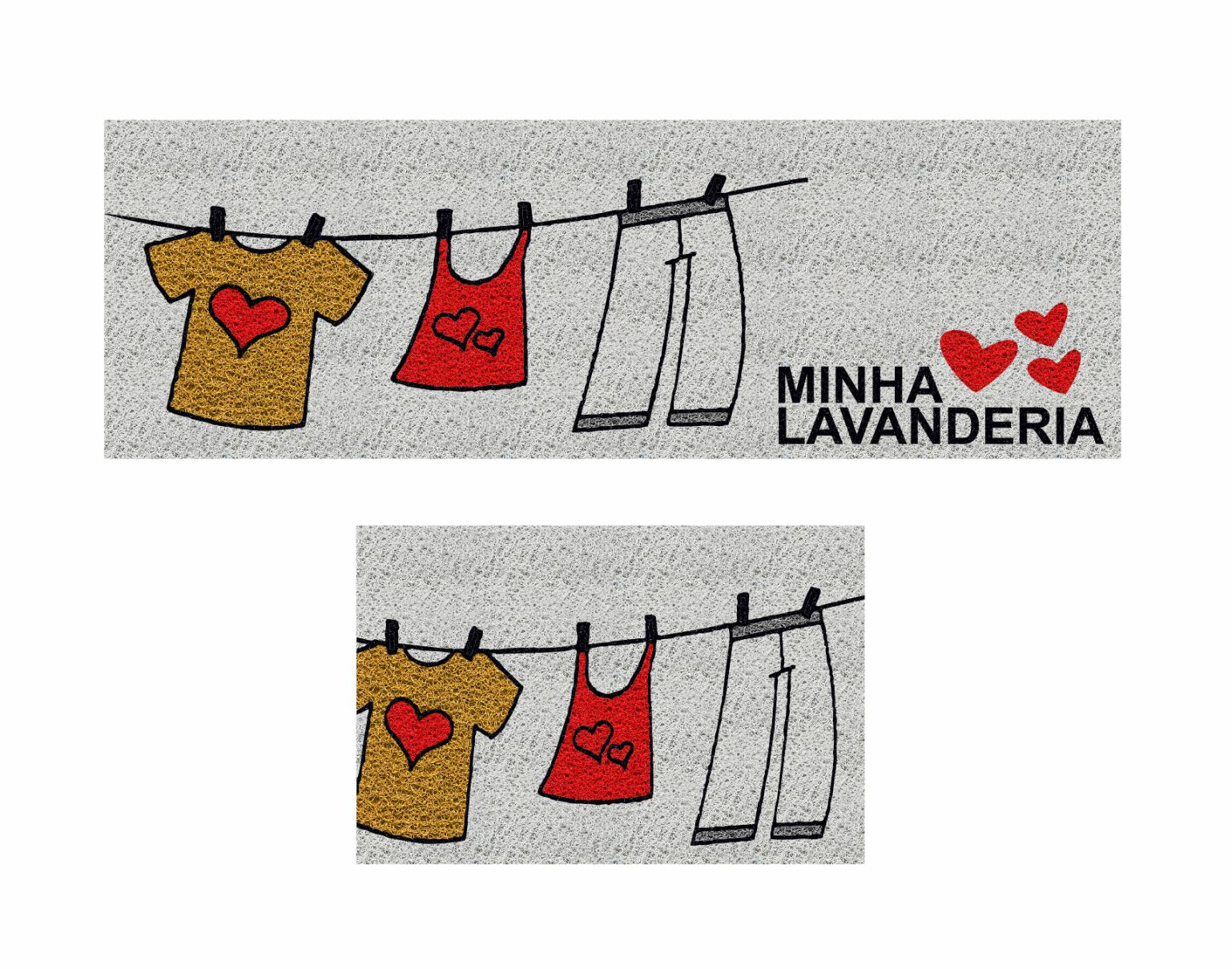 Kit 2 peças, Capachos para Lavanderia, Antiderrapantes 120x40 cm / 60x40 cm - Minha Lavanderia  - Zap Tapetes e Capachos Personalizados